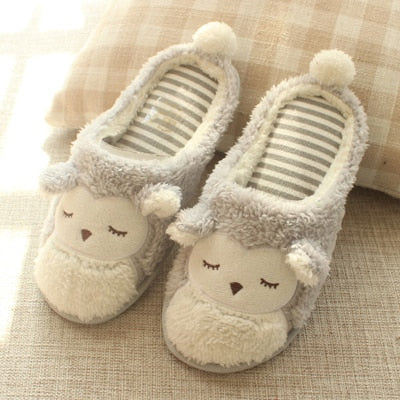 Spring Cartoon Owl Plush Home Slippers