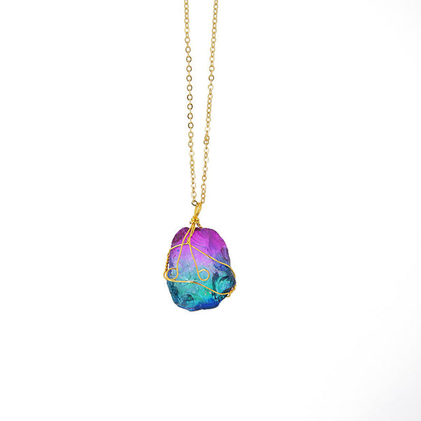 Rainbow Natural Stone Quartz Hand Wire Wrapped Pendant Necklace