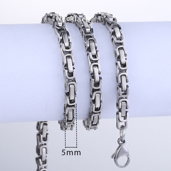 Stainless Steel Byzantine Chain Necklaces For $1.00 an Inch for Men or Women KNN21