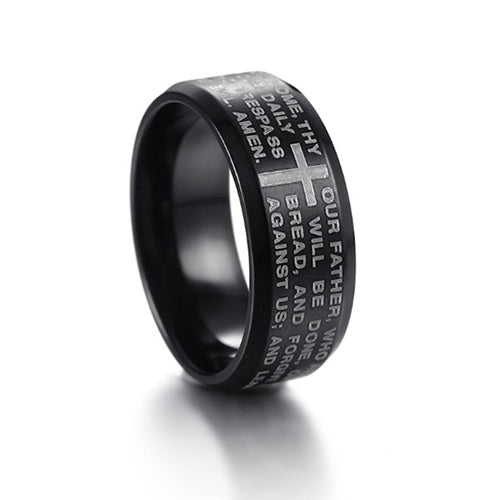 The Lord's Prayer in 3 Colors Stainless Steel Ring For Men and Women