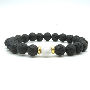 Howlite Bead 8MM Black Lava Stone Essential Oil Diffuser Bracelet