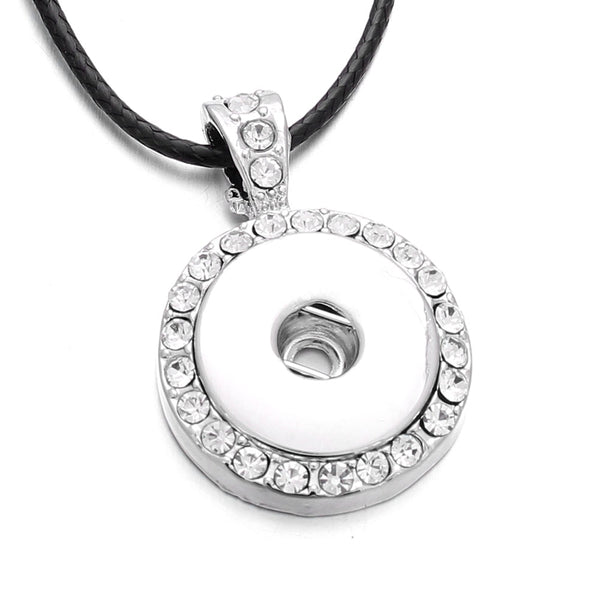 Full Rhinestone Round 18MM Pendant Silver Color Sandy Snap Necklace