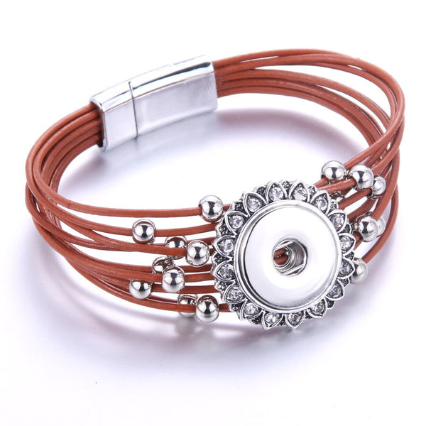Genuine Leather Rhinestone Encircled Beaded Sandy Snap Bracelet