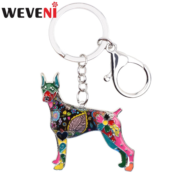 WEVENI Enamel Metal Doberman Dog Key Chain Keychain Animal Jewelry For Women Girls Pet Lovers Bag Purse Pendant Gift Charms Bulk