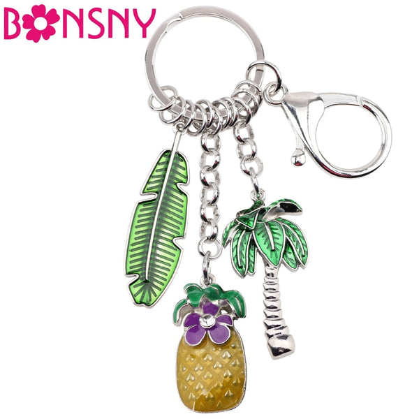 Enamel Metal Pineapple Coconut Palm Tree Keychains, Car Bag Charms Pendant