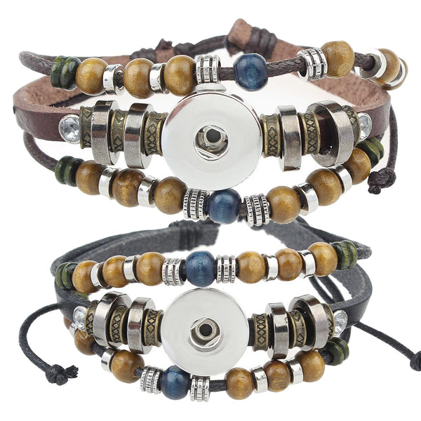 Leather Sandy Snap Bracelet with Wood and Metal Beading GJB8526