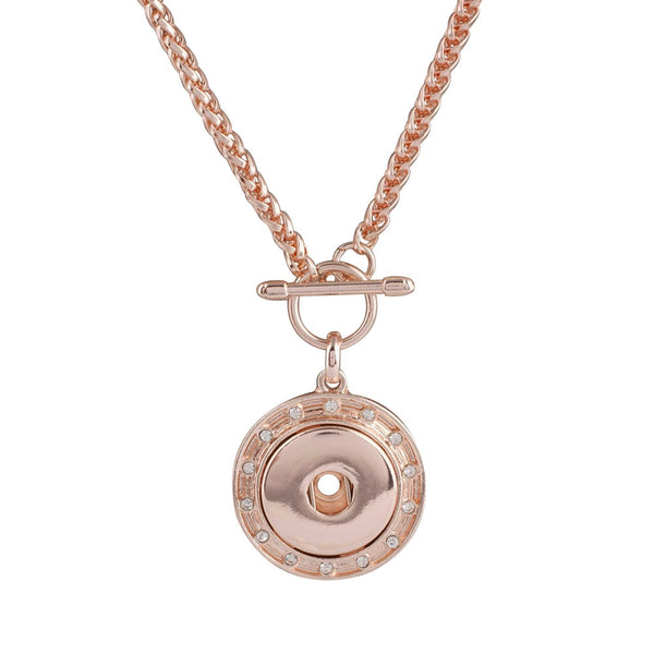 Rose Gold Vintage Metal Sandy Snap Necklace In Two Sizes