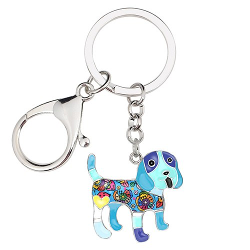 Enamel Alloy Happy Beagle Dog Keychains. for Bag, Car Pendant Charm Hot