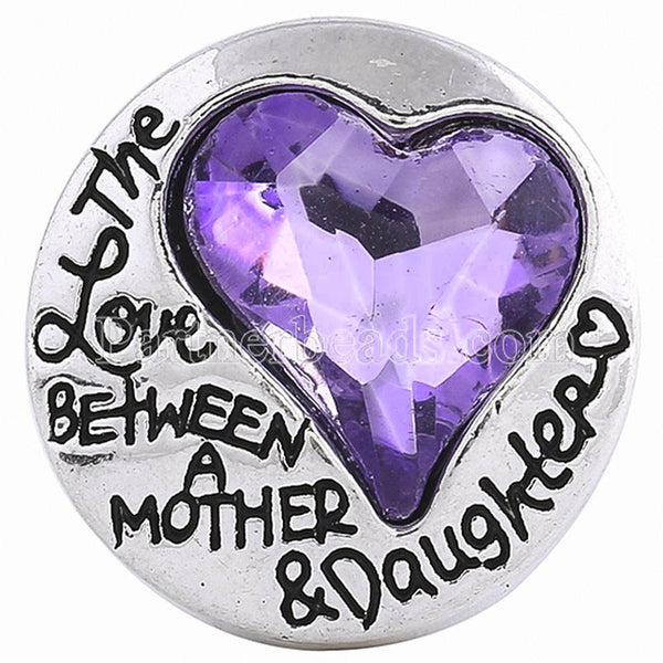 The Love Between A Mother And Daughter Crystal Sandy Snap Button Charm