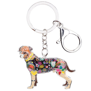Enamel Rottweiler Dog Key Chain For Pet Lovers Everywhere