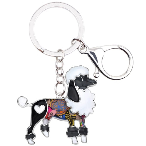 Enamel Poodle Dog Key Chains, Keychains Pets Jewelry Bag Car Charms Gift
