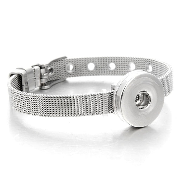 Sandy Snap Stainless Steel Bracelet Fits 18mm Snap