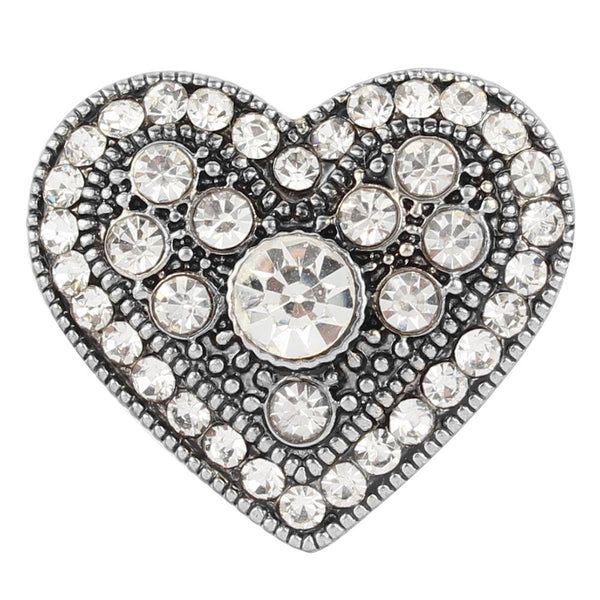 20mm White Crystal Clear Heart Love Sandy Snap Button