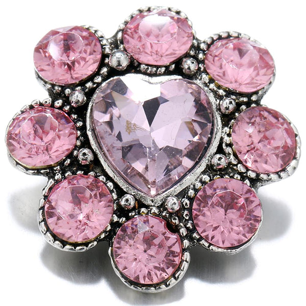 20mm Pink Crystal Heart Love Sandy Snap Button