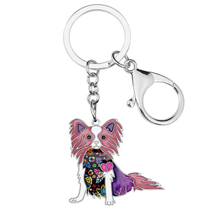 Enamel Alloy Papillon Dog Key Chains Keychain Holder or Hanger Animal Jewelry For Women Girls Bag Car Charms Gift
