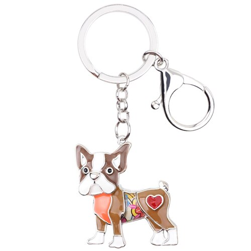 WEVENI Enamel Metal Pug Dog Key Chain Wholesale Key Ring Bag Charm Man Car Keychain Wholesale Hot Unique Jewelry For Women