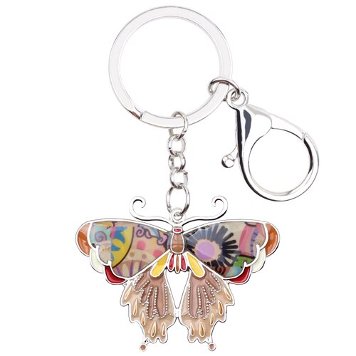 WEVENI Enamel Metal Butterfly Key Chain Key Ring Bijoux Charm 2017 Hot Unique Animal Jewelry Keychain Wholesale For Women
