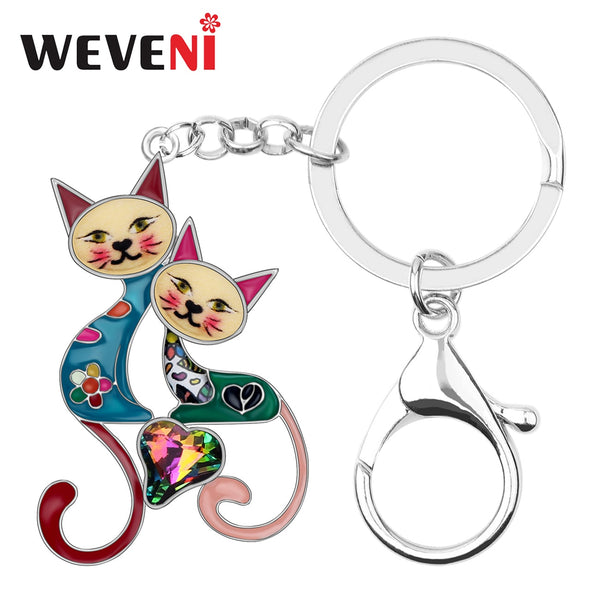 Enamel Alloy Rhinestone Double Cat Key chain