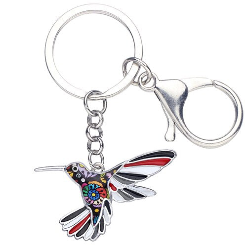 Enamel Floral Hummingbird Bird Key Chain