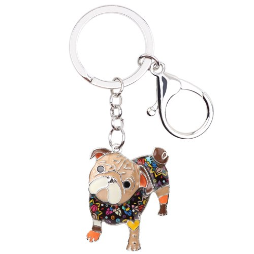 Enamel Bulldog Pug Dog Keychain, Pet Lovers, Gift Bag or Purse Pendant