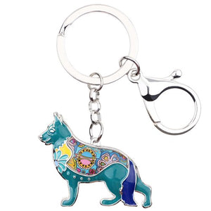 Enamel German Shepherd Dog Keychain, Gifts Bag Pendant, Car Decoration
