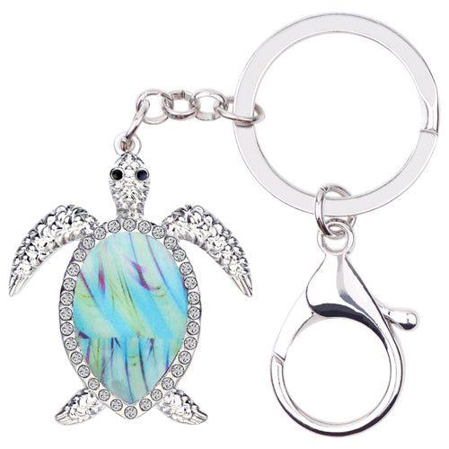 Enamel Alloy Sea Turtle Tortoise Key Chains, Purse Charms
