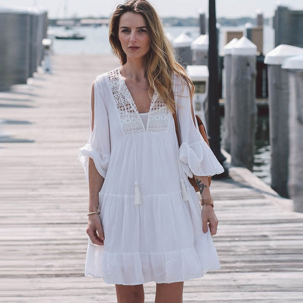 BOHO Chic Dress Style White Baby Doll Shirt