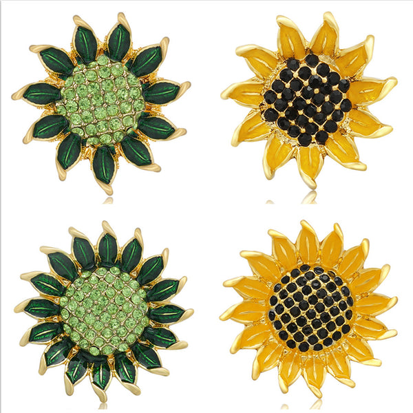 New Beauty Rhinestone Green Blooming Sunflower Sandy Snap Button