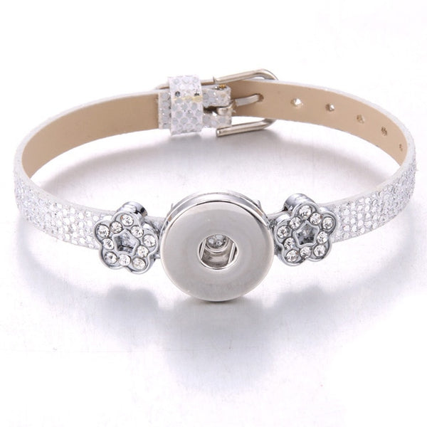 18MM Sandy Snap Bracelet with Faux Snakeskin Leather Stainless Steel Charms