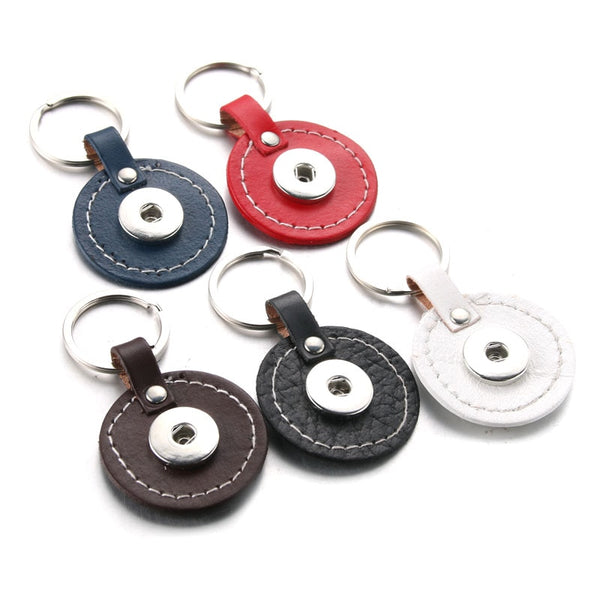 Round PU Leather Sandy Snap Keychain Sandy Snap Jewelry 2601