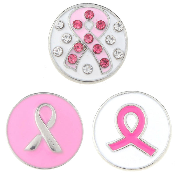 Pink Ribbon Breast Cancer Awareness Sandy Snap Button
