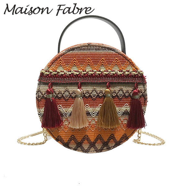 Fabre Leather and Cloth Vintage Tassel Bag