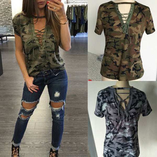Who Said Camouflage Isn't Sexy! Loose Blouse Lace Up Front