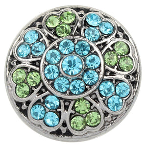 Sky Blue and Green Crystal Sandy Snap Button