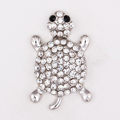 Crystal Rhinestone Tortoise, Turtle Sandy Snap Button