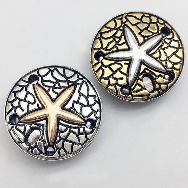 Starfish Beach Metal Sandy Snap Button