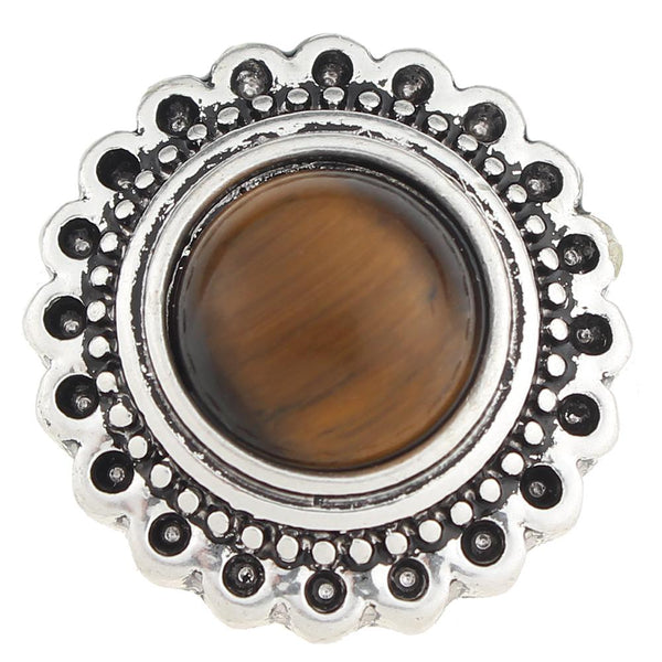 Brown Tiger Eye Style Sandy Snap Button