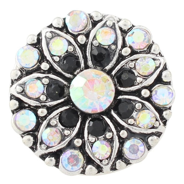 Blue and Black Crystal Sandy Snap Button