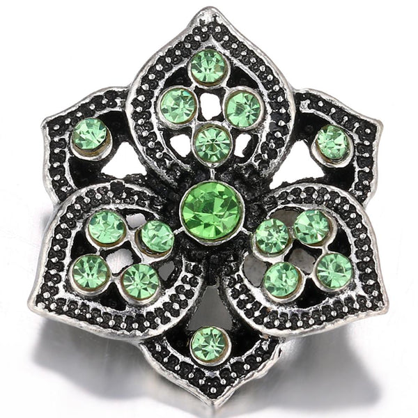 Hollow Green Crystal Flower Sandy Snap Button
