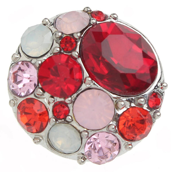Red And Iridescent Crystal Sandy Snap Button