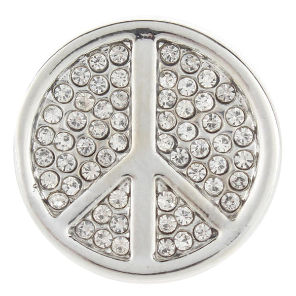 Peace Sign Crystal Stones Sandy Snap Button