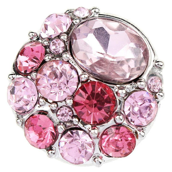 Multi Color Pink Crystal Sandy Snap Button