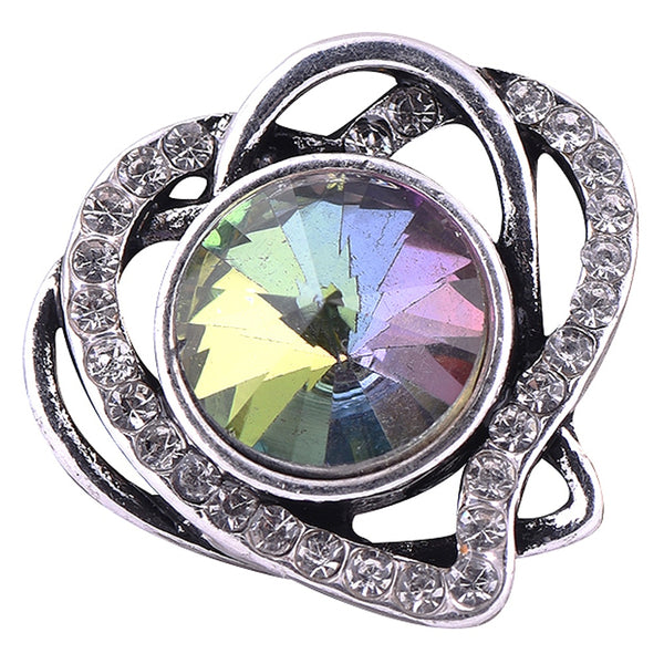Intertwined Hearts With Iridescent Stone Center Sandy Snap Button