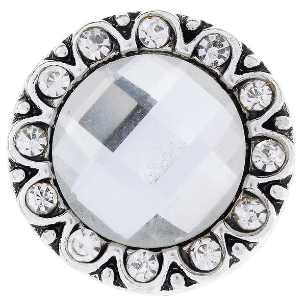White Big Glass Crystal Sandy Snap Button