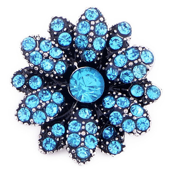 Beautiful Blue Flower Sandy Snap Button