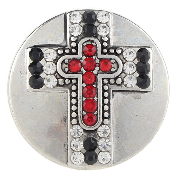 Red Crystal Faith Cross Sandy Snap Button