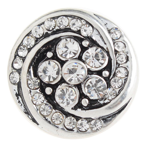 White Crystal Swirl Sandy Snap Button