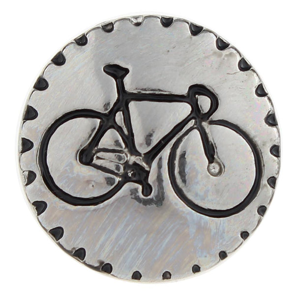 Silver Engraved Bicycle Sandy Snap Button