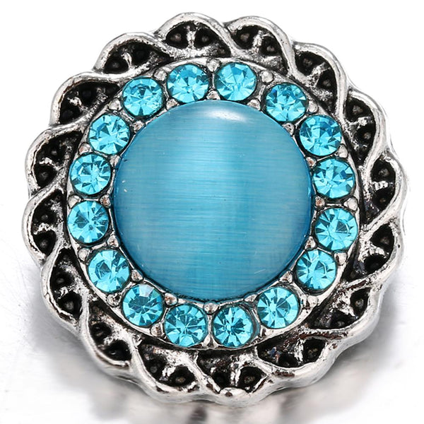 Sky Blue Cat-eye Stone Opal Sandy Snap Button