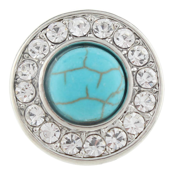 Turquoise And Clear Rhinestone Sandy Snap Charm Pops